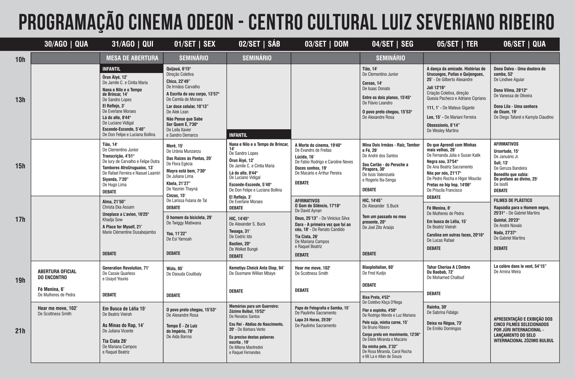 Programacao ODEON